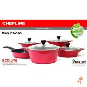 سرویس سرامیک شف لاین ساخت کره ( 9 پارچه رنگ قرمز ) Chefline