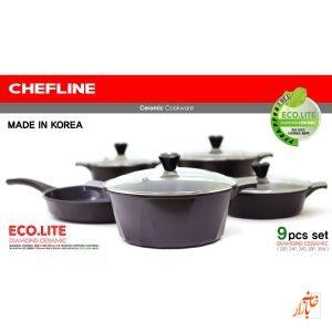 سرویس سرامیک شف لاین ساخت کره ( 9 پارچه رنگ مشکی ) Chefline